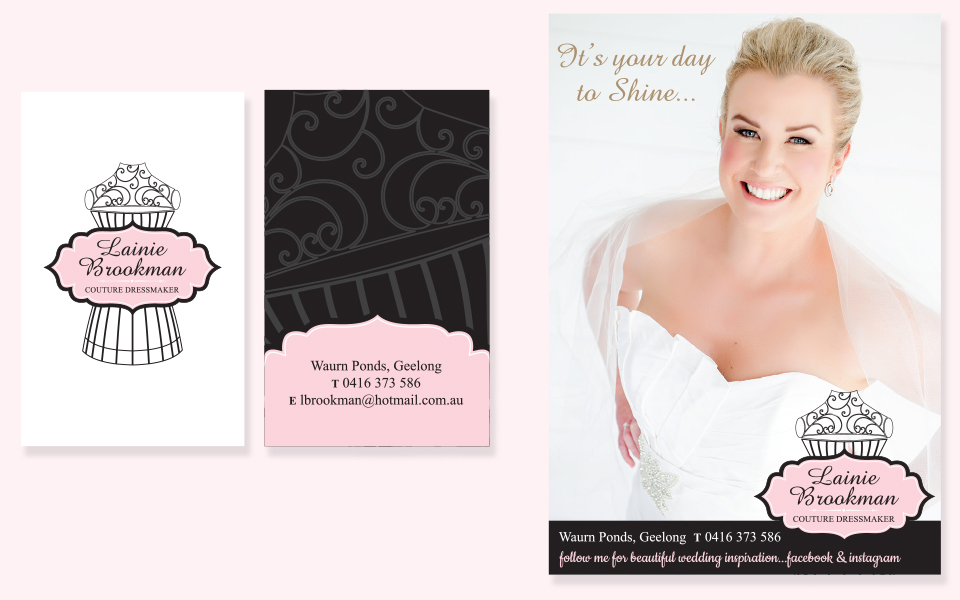 Business card printing geelong indie lime lainie brookman couture dressmaker business card and print ad reheart Image collections