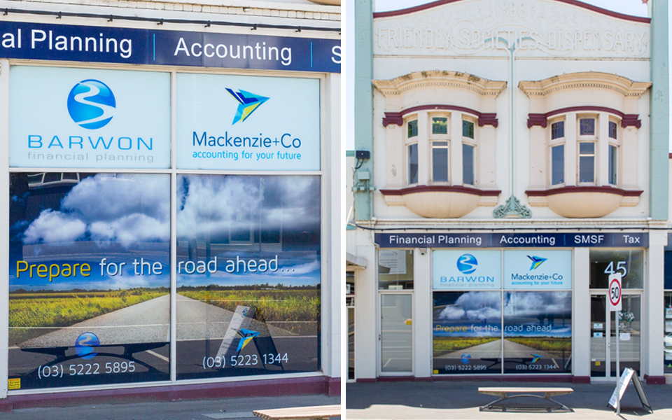 Mackenzie co window signage